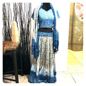 Other - 3 Piece Belly Dance Outfit Choli Top Scarf & Skirt